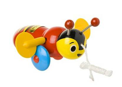 Buzzy Bee Wooden Pull Along Toy.