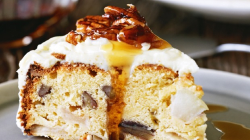 Apple & Pecan Spice Cake with Honey Cream Cheese Icing