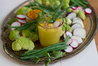 Golden Honey Turmeric Dip with Crudite