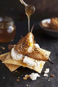 Honey Baked Pears with Dukkah & Goats Cheese