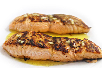 Honey Glazed Salmon with Butter Lemon Sauce
