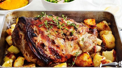 Roast lamb with honey, mustard and thyme glaze